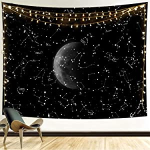 Funeon Black and White Tapestry for Bedroom Constellation Moon Tapestry Wall Hanging Space Tapistry for Men Dorm Decoration for College Girls Cool Dark Tapistry Indie Room Wall Decor 59x59inches