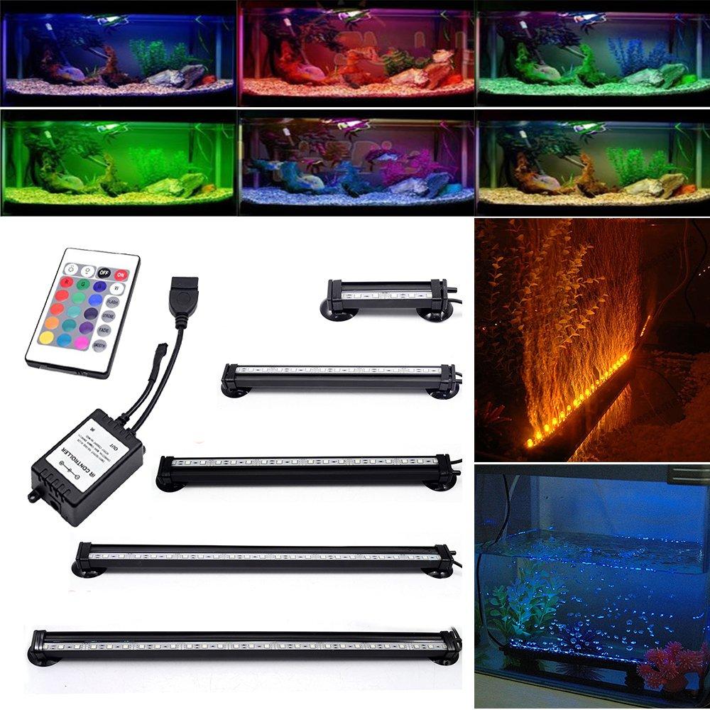GreenSun Aquarium Lampe (RGB, télécommande IR) 26CM 15LEDs 5050SMD Tube Eclairage Étanche Fish Tank éclairage pour Aquarium Poissons Lampe sous l'eau AC100V-240V