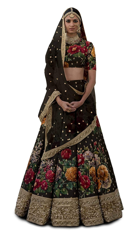 b47969343fb MEGHALYA Collection Fine Art Silk Lehenga choli for women(BLACK, Free size,  zcp_7019_BLACK): Amazon.in: Clothing & Accessories