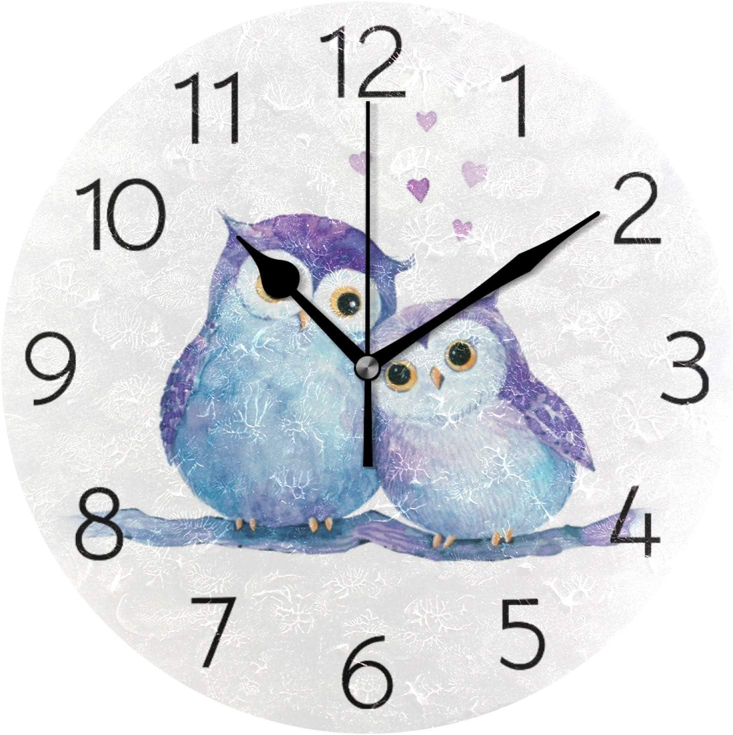 Biekaya Cute Owls Round Wall Clock Hanging Quiet Battery Operated Modern Art Wall Clocks for Bedroom Kitchen Living Room