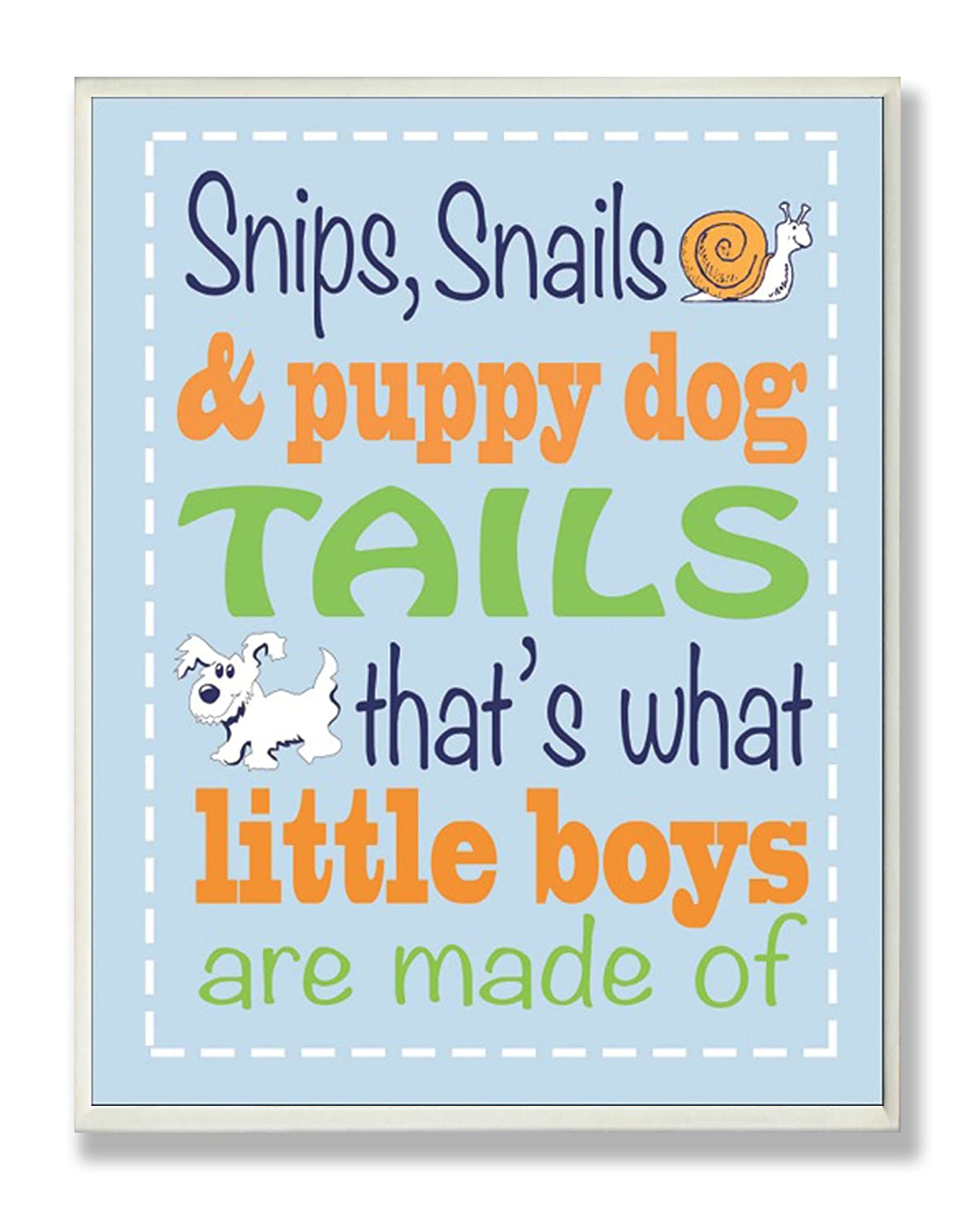 The Kids Room by Stupell Snips and Snails and Puppy Dog Tails Nursery Rhyme on Blue Rectangle Wall Plaque brp-1493