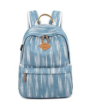 "Acmebon Unisex Vintage Canvas Backpack with USB Charge Port Fashion 15.6"" Laptop Rucksack Retro Blue"