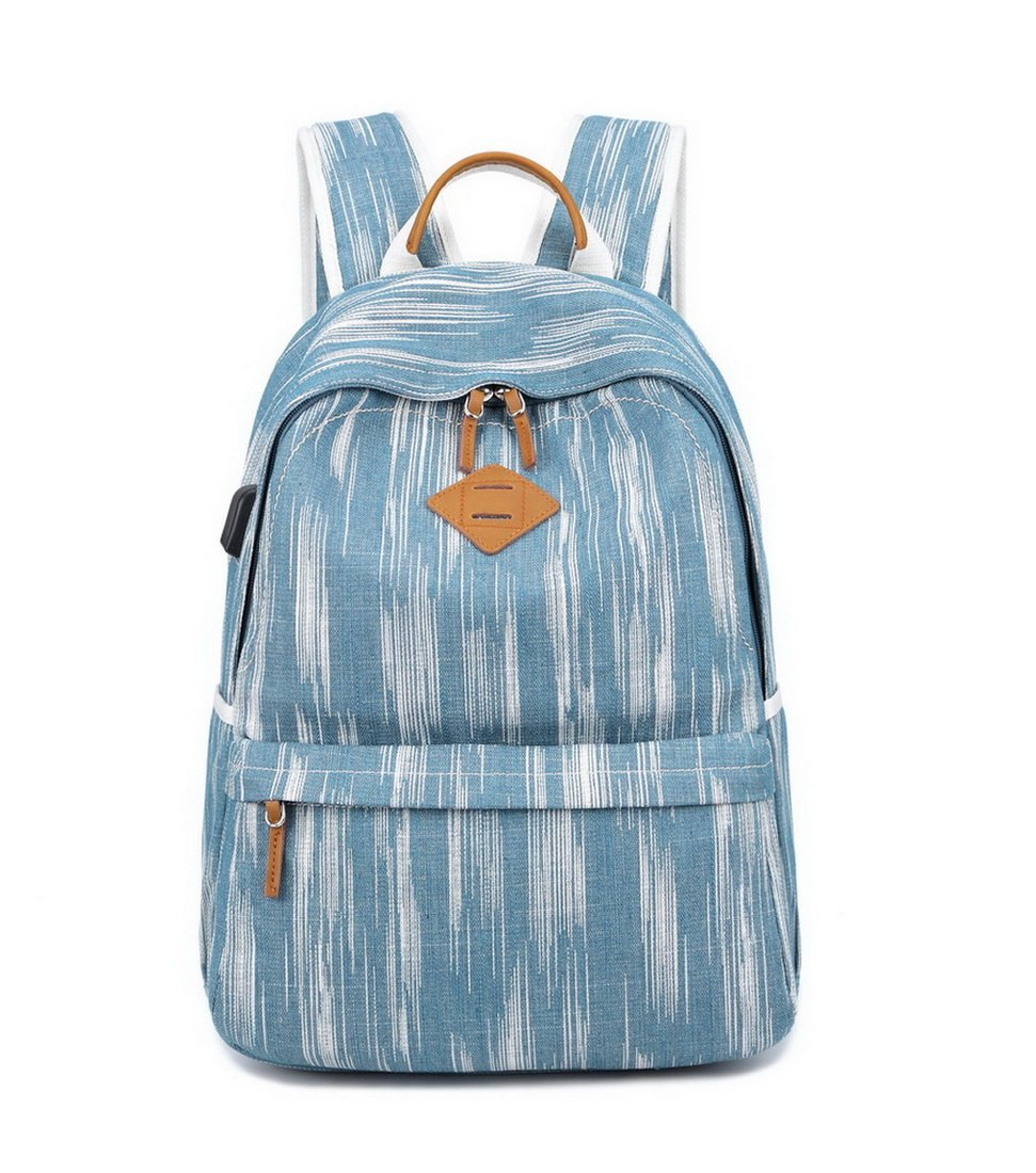 "Acmebon Unisex Vintage Canvas Backpack with USB Charge Port Fashion 15.6"" Laptop Rucksack Retro Blue"
