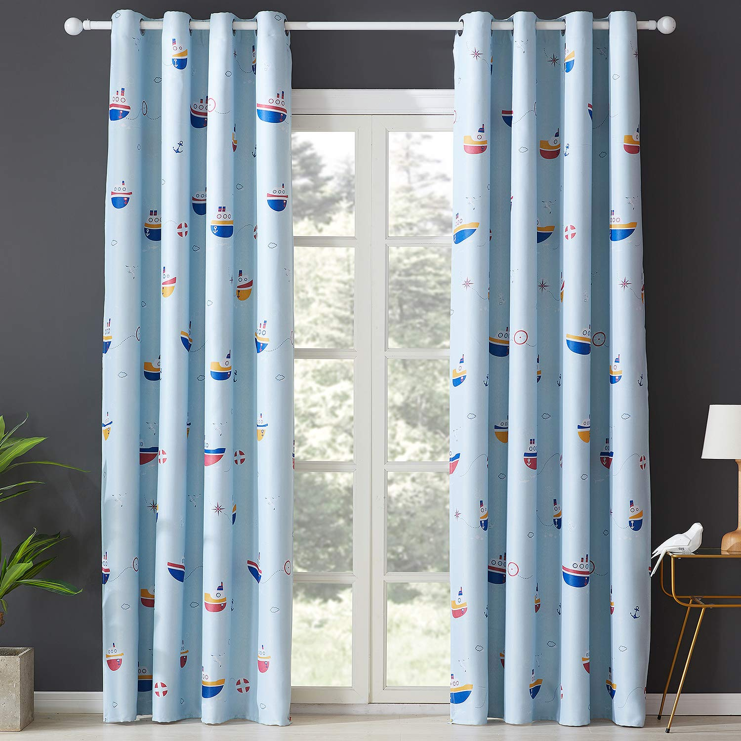 Topfinel Printed Kids Curtains Semi Blackout for Children Bedroom Eyelet Thermal Insulated Room Darkening Cute Car Patterned Curtains for Nursery 46x54 Inch Drop Set of 2 Panels Grey 117cmx137cm