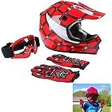TCT-MT DOT Youth Helmets+Goggles+Gloves Red Spider Net Motocross Dirt Bike Helmet ATV MX Helmet w/Gloves+Goggles (L)