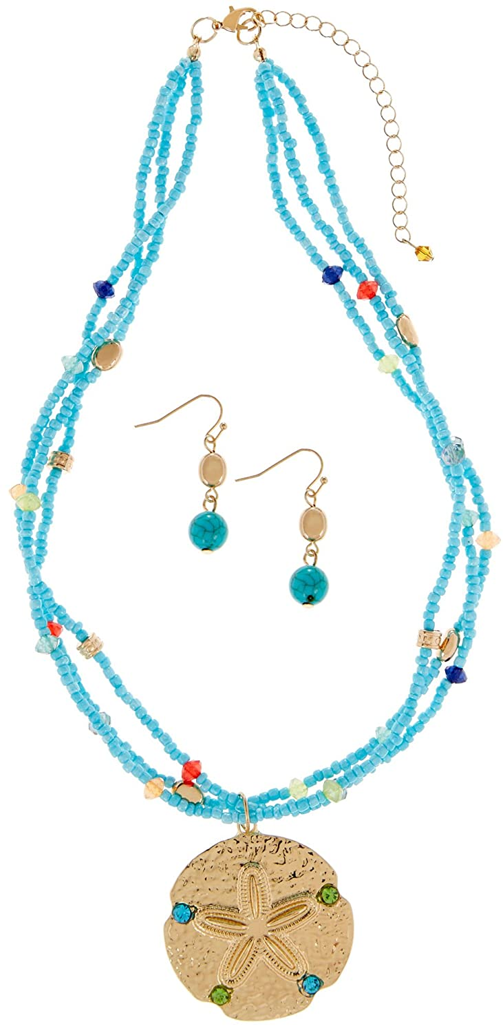 cheap Paradise Shores Sand Dollar Necklace & Earring Set One Size Turquoise blue multi hot sale