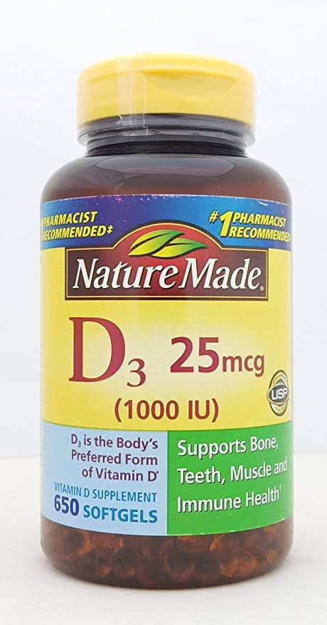 Amazon Com Nature Made Vitamin D3 1000iu 650 Softgels Health Personal Care