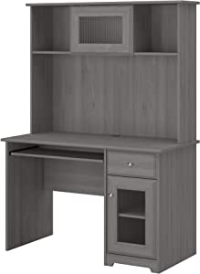 Bush Furniture Cabot Small Computer Desk with Hutch and Keyboard Tray, 48W, Modern Gray