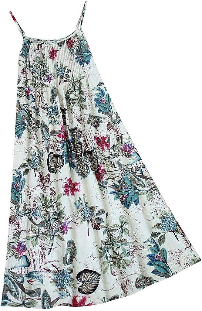 Women Retro Dress Summer Casual Loose Sleeveless O-Neck Floral Print Dress Plus Size Boho Long Maxi Dress