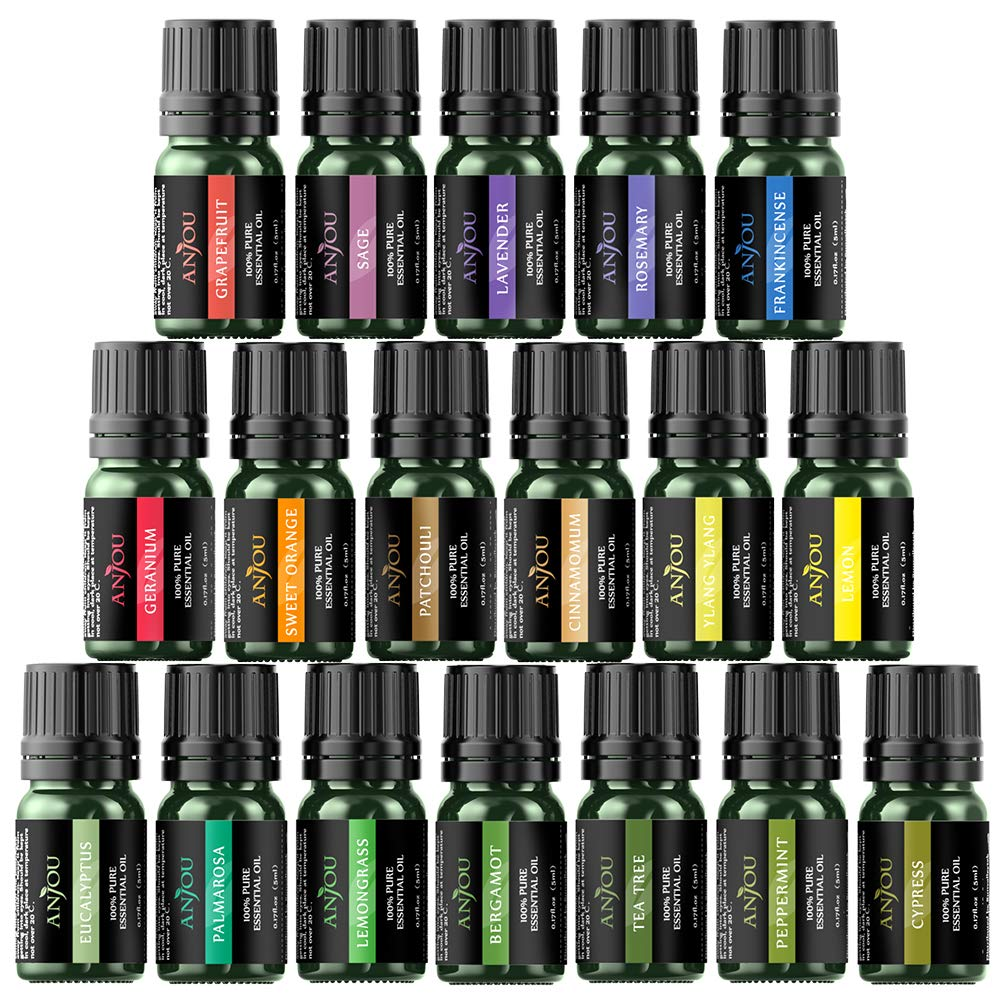 Anjou Essential Oils Gift Set 18 x 5 mL (Lavender, Sweet Orange, Peppermint, Tea Tree, Eucalyptus More) Diffuser, Humidifier, Massage, Aromatherapy, Skin & Hair Care