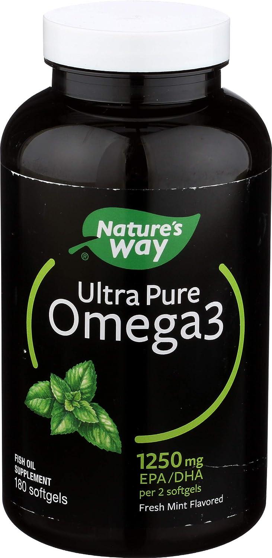 Nature's Way Ultra Pure Omega3 Fish Oil, 1250 mg EPA/DHA, Mint, 180 Softgels