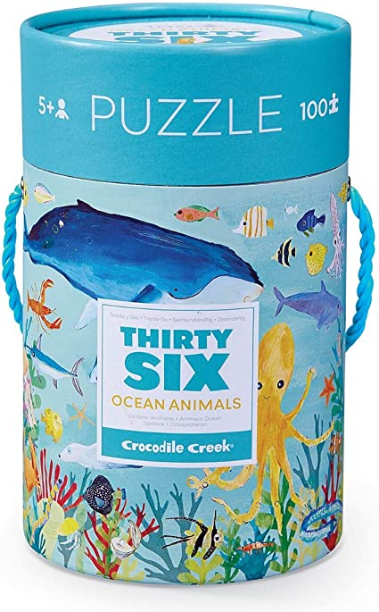 Crocodile Creek 4054-8 Shark Piece Puzzle in Canister Jigsaw FloorPuzzle 14 x 19 Blue//Green//Orange//Red//Pink