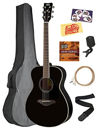Yamaha FS820 Solid Top Small Body Acoustic Guitar - Black Bundle with Gig Bag, Tuner