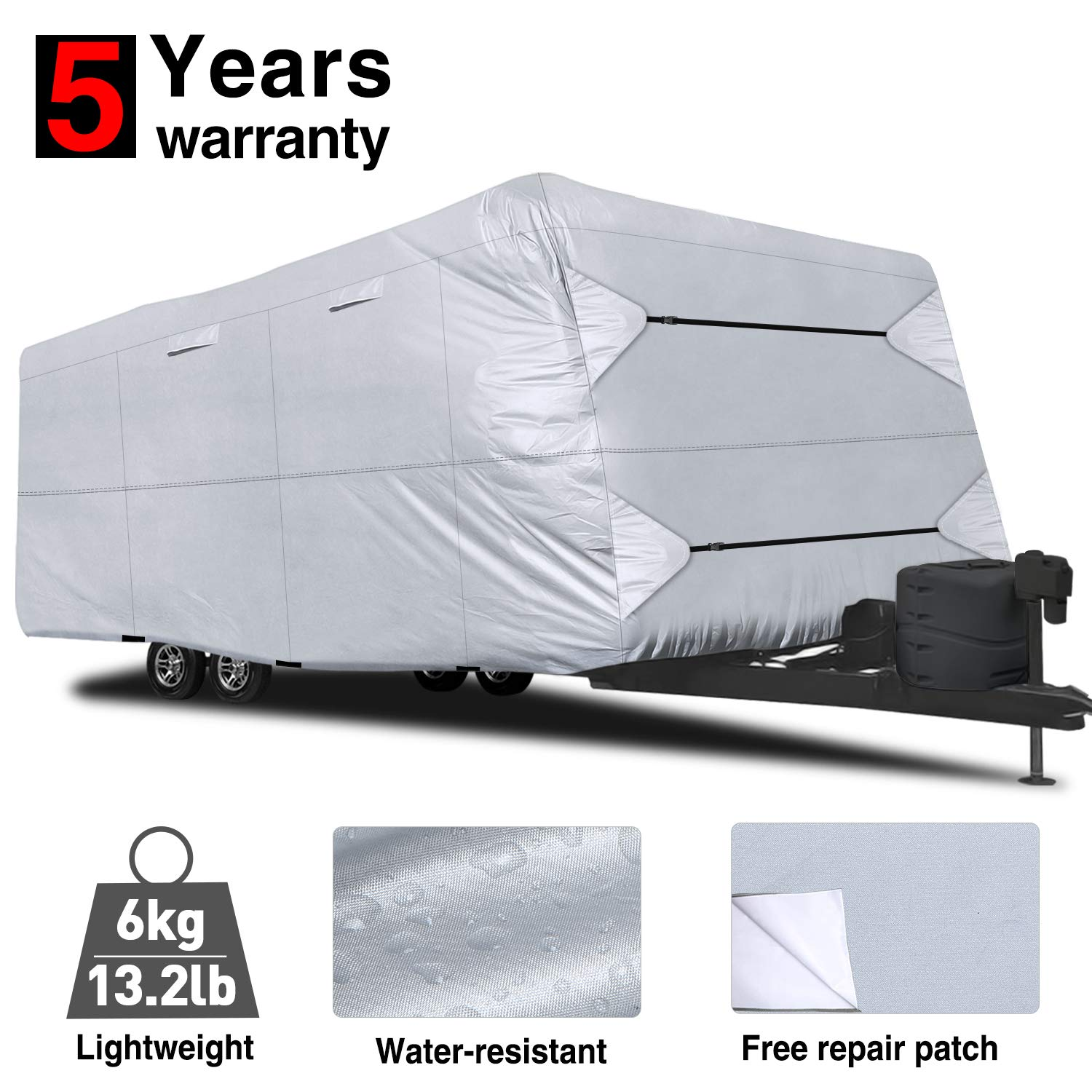RVMasking Travel Trailer RV Cover 22'-24' L with Free Adhesive Repair Patch, Lightweight & Waterproof Camper Cover