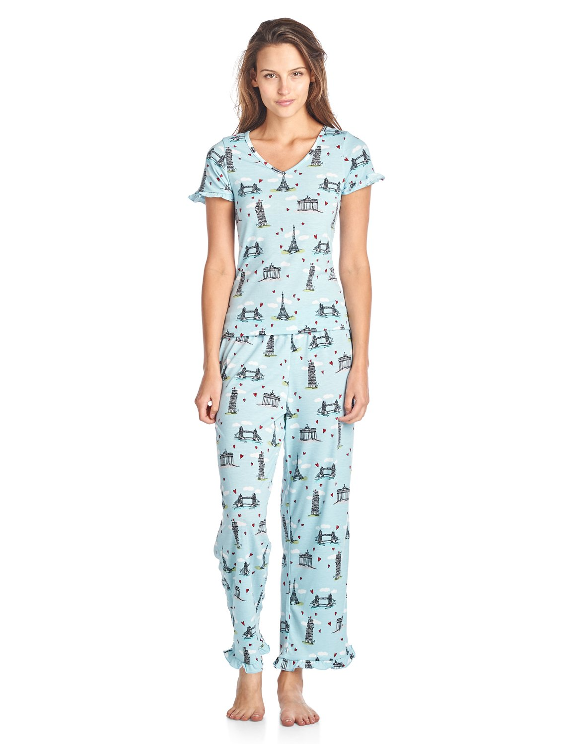 BHPJ By Bedhead Pajamas Women's Soft Knit Ruffle Short Sleeve Capri Pajama Set - Lt. Blue Sketched Building - X-Large
