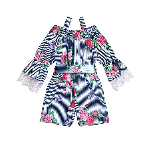 9625b51f902 Sagton Children Kids Girls Long Sleeves Stripe Floral Print Sling Hare Blue Lace  Romper Jumpsuit Clothes