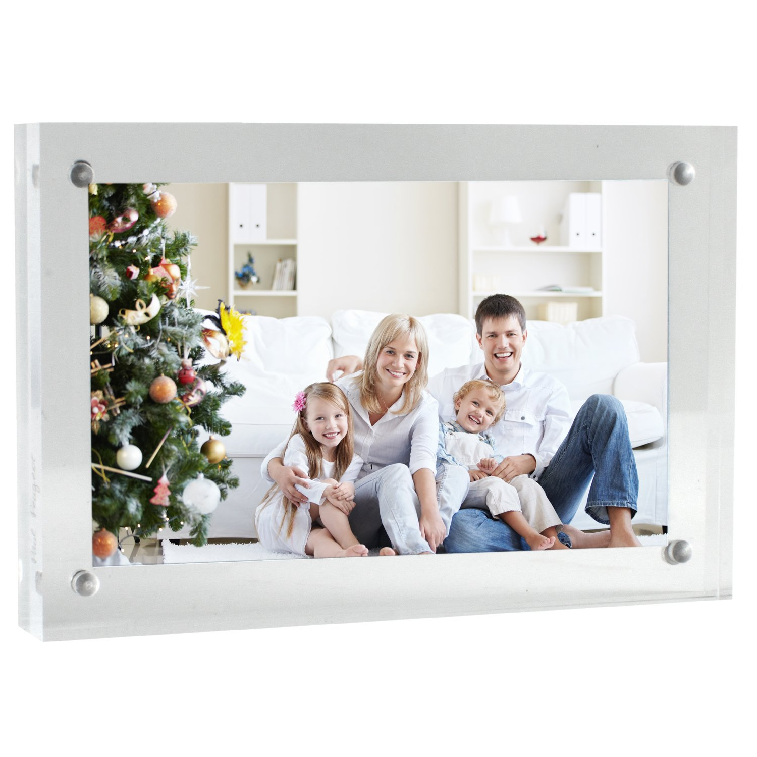 Paul Peugeot Premium Quality 4x6 Acrylic Picture Frame With 4 Corner Magnetic Magnet Lock Closure, Ultra Thick, 20mm Total Thickness PH46