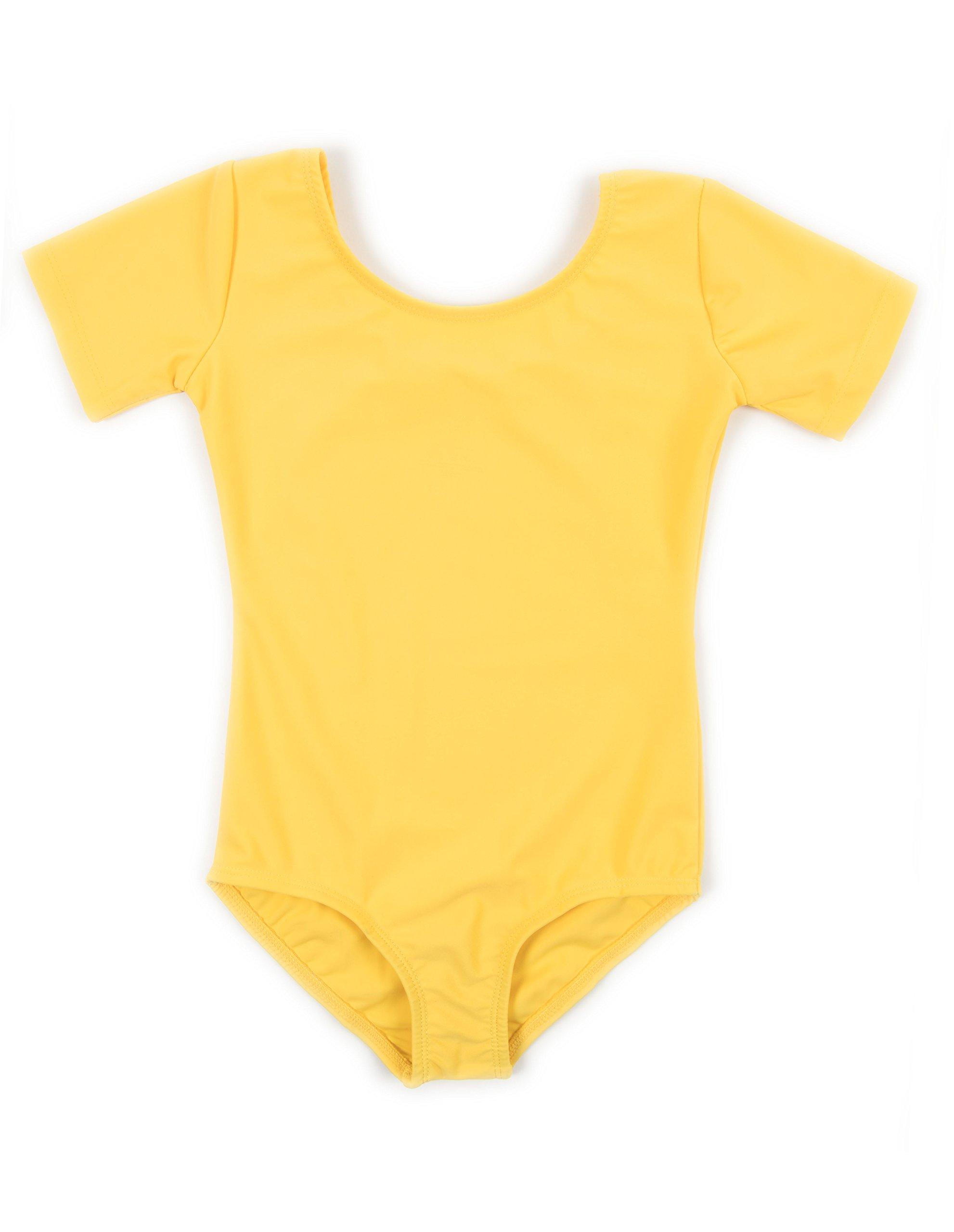 Leveret Girls Leotard Yellow Short Sleeve Small 6 8