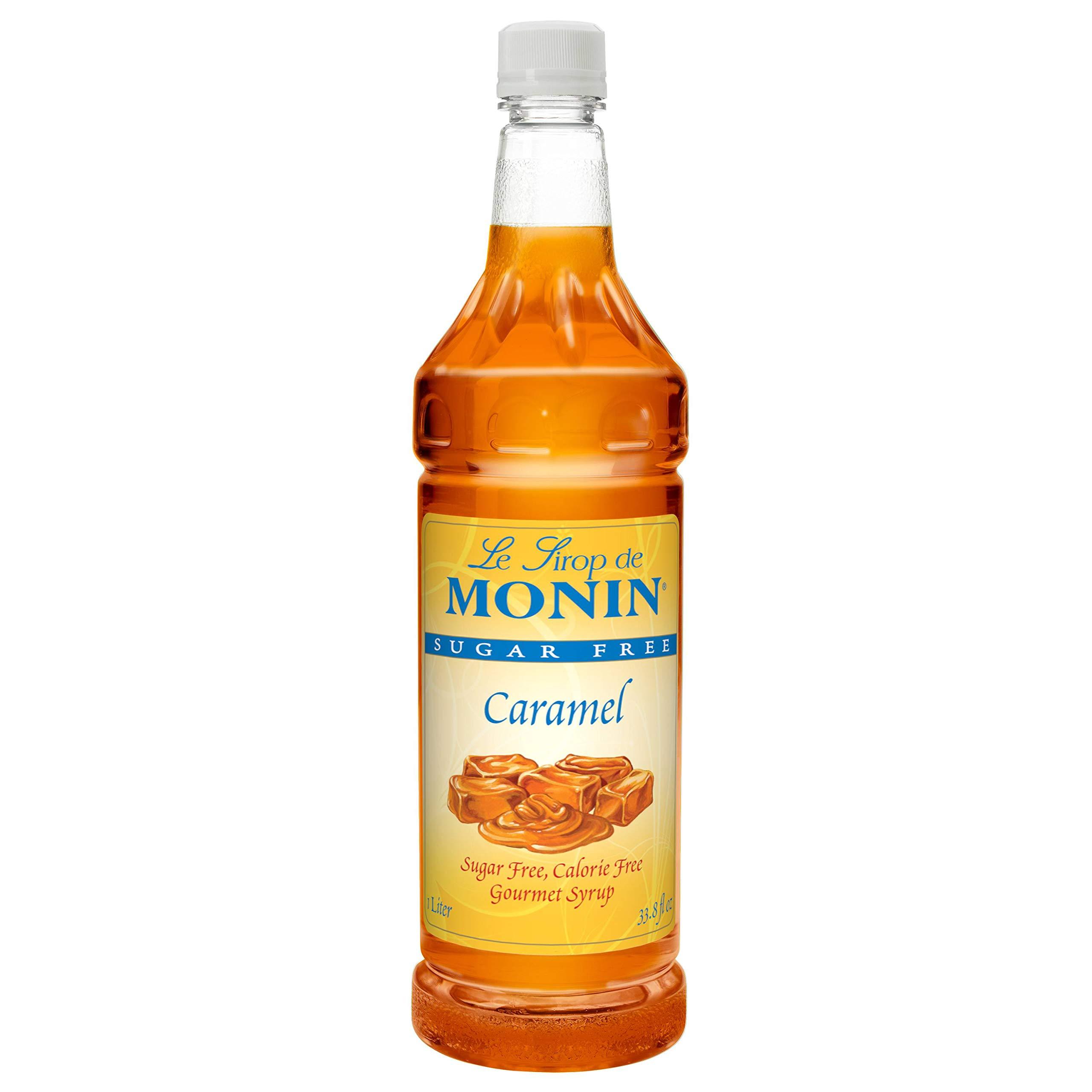Monin Sugar Free Caramel Syrup 1 Liter, Pack of 4