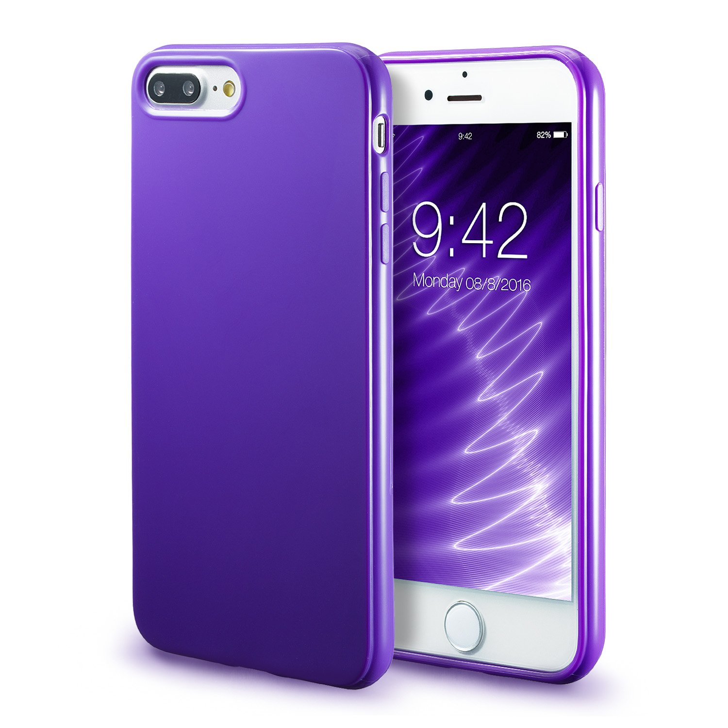pretty nice 7f39c 830bc iPhone 7 Plus Purple Case/iPhone 8 Plus Purple Case, technext020 Shockproof  Ultra Slim Fit Silicone TPU Soft Gel Rubber Shock Resistance Protective ...