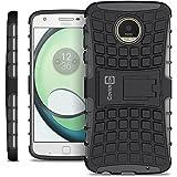 Motorola Moto Z Play Case, Moto Z Play Droid Case, CoverON [Atomic Series] Hybrid Armor Cover Tough Protective Hard Kickstand Phone Case for Motorola Moto Z Play Droid / Z Play - Black