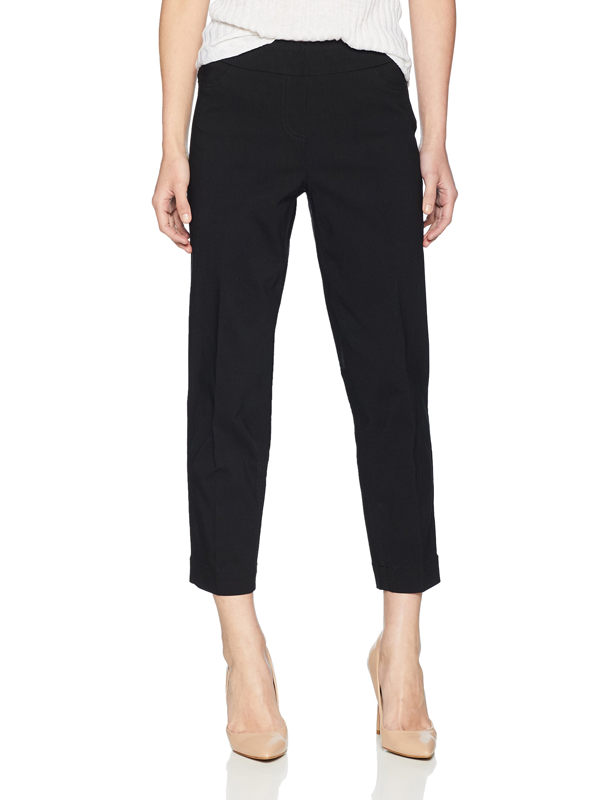 SLIM-SATION Women's Petite Pull on Skinny Solid Crop with Faux L Pockets, Black, 12