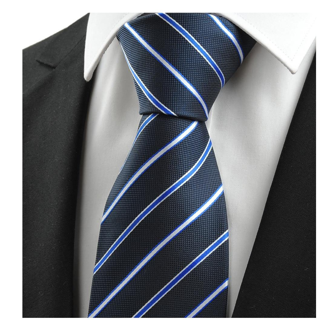 Dark blue striped mens tie