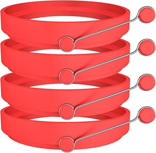 Amazon.com: Ozera 4 Pack Silicone Egg Rings Pancake Molds Egg Ring for Egg Mcmuffins - Non Stick, One Size, Red: Kitchen & Dining