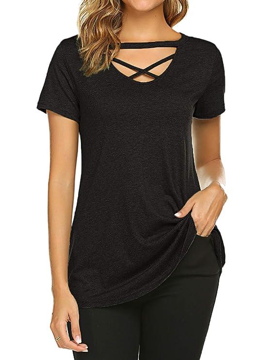 Womens Short Sleeve Criss Cross Tops Casual Choker T Shirt Tees