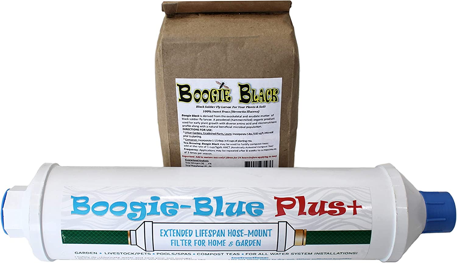 New 2018 Design - Boogie Blue PLUS High Capacity Water Filter for garden, RV and outdoor use -Removes Chlorine, Chloramines, VOCs, Pesticides/Herbicides BUNDLE With Boogie Black Fly Soldier Larvae 1lb