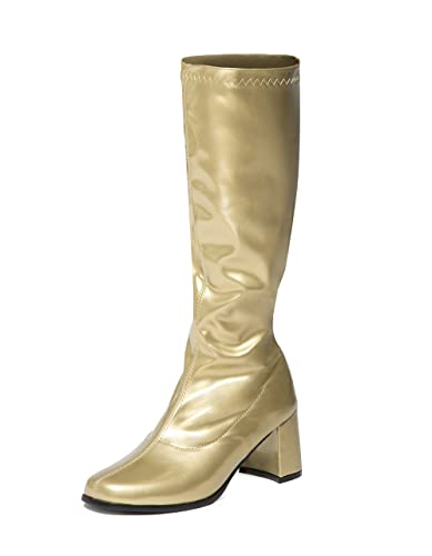 b8b4cb698b486 Gold Knee High Go Go Boots - Sizes 3 UK to 11 UK