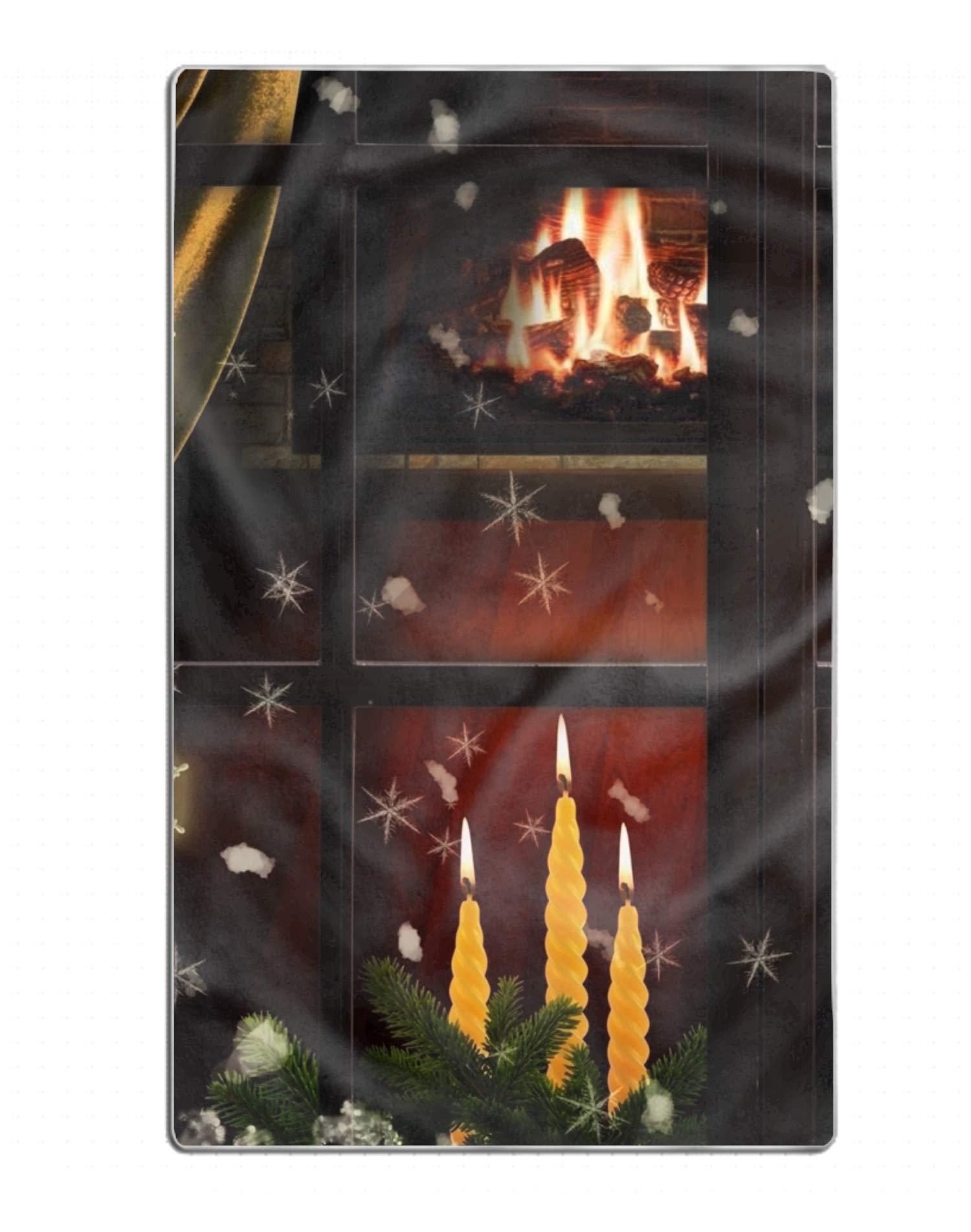 FGNZ Holiday Christmas Tree Candle Window Snowflake Fireplace Beach Towels Premium Stylish Bath Beach Spa Fitness Towel
