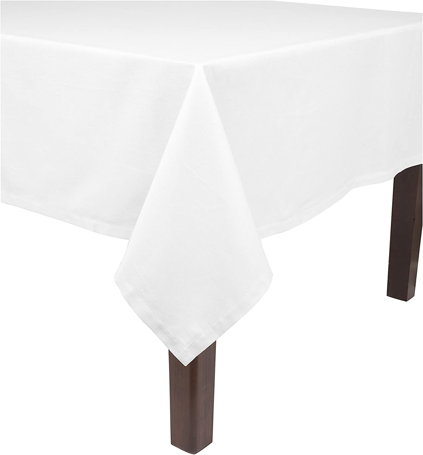 "KAF Home Banquet Tablecloth in White, 90"" by 156"", 100% Cotton, Machine Washable"