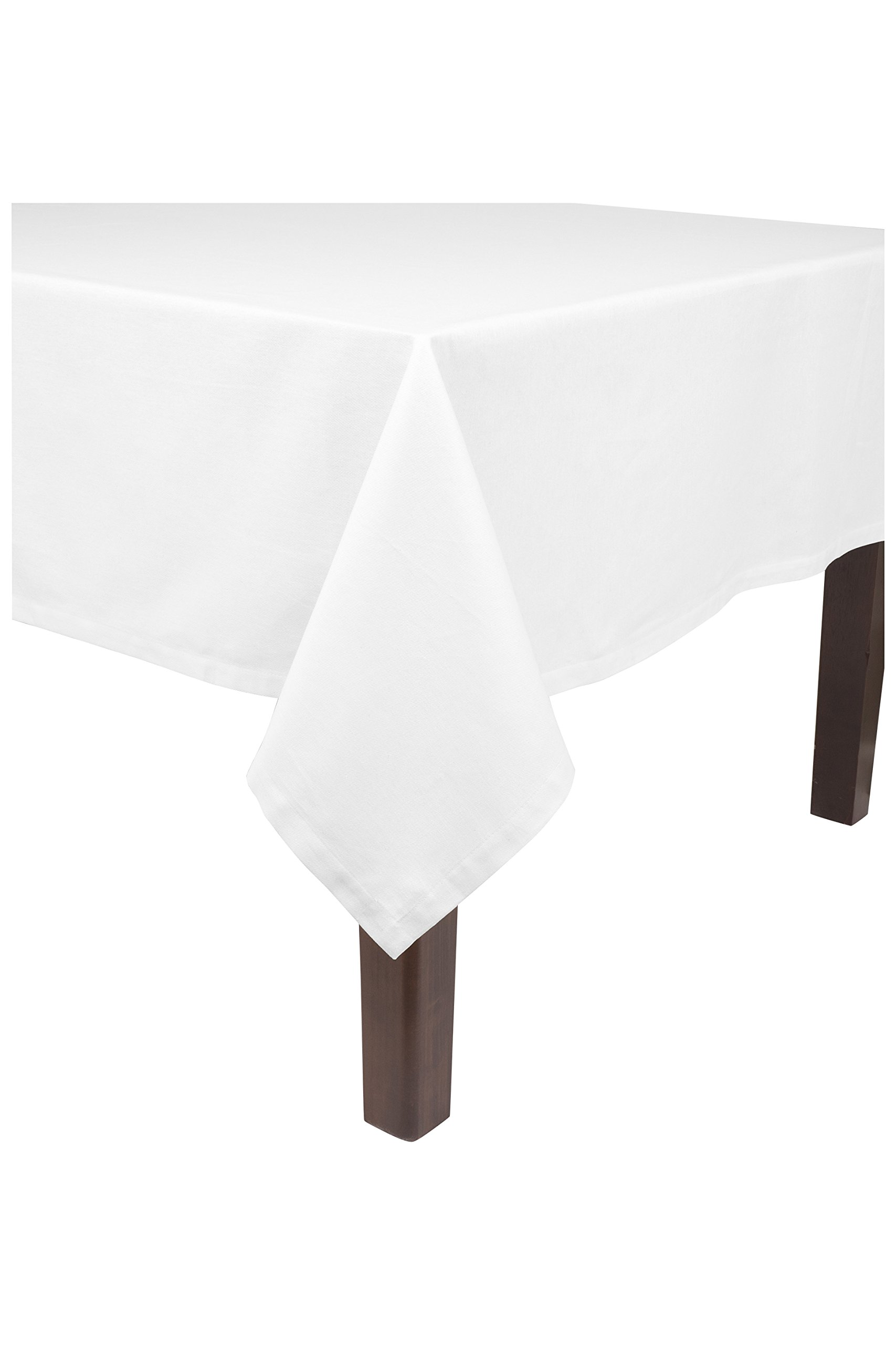 KAF Home Banquet Tablecloth in White, 90'' by 144'', 100% Cotton, Machine Washable