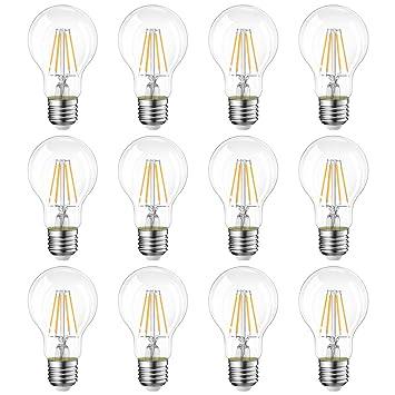 LVWIT Bombillas de Filamento LED E27 (Casquillo Gordo) - 8W equivalente a 60W,