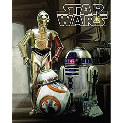 Disney Star Wars Droids R2-D2, C-3PO, and BB8 Super Soft Plush Oversized Twin Sherpa Throw Blanket: Home & Kitchen