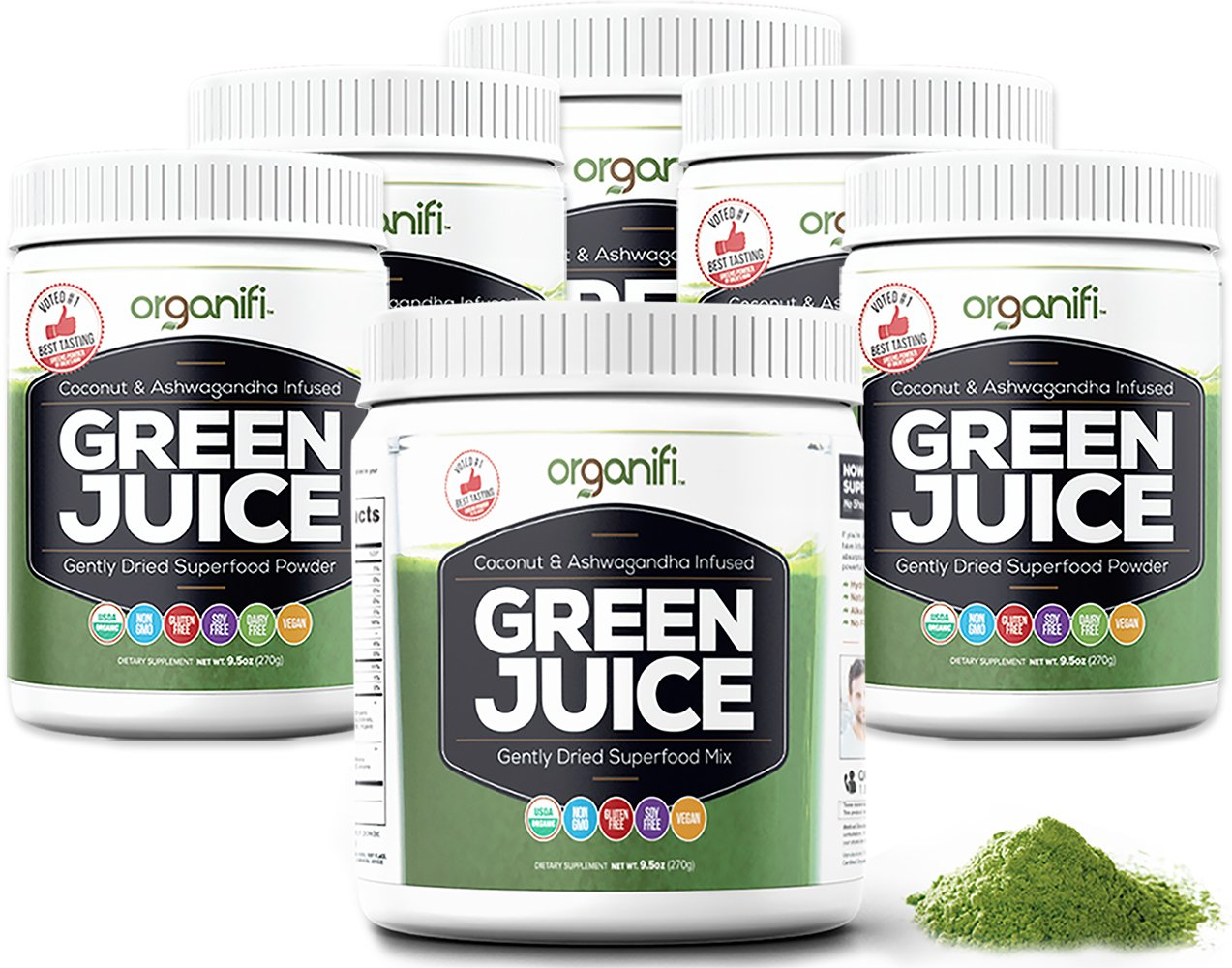 Organifi: Green Juice - Organic Superfood Supplement Powder - 30 Day Supply - USDA Certified Organic Vegan Greens- Hydrates and Revitalizes - Boost Immune System - Support Relaxation and Sleep - 6PK