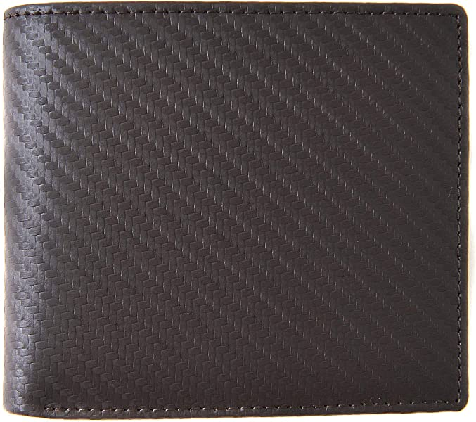 017a92fa9765 ダークブラウン F イタリア産 カーボン レザー 二つ折り メンズ 財布 カーボンレザー 本革 薄型