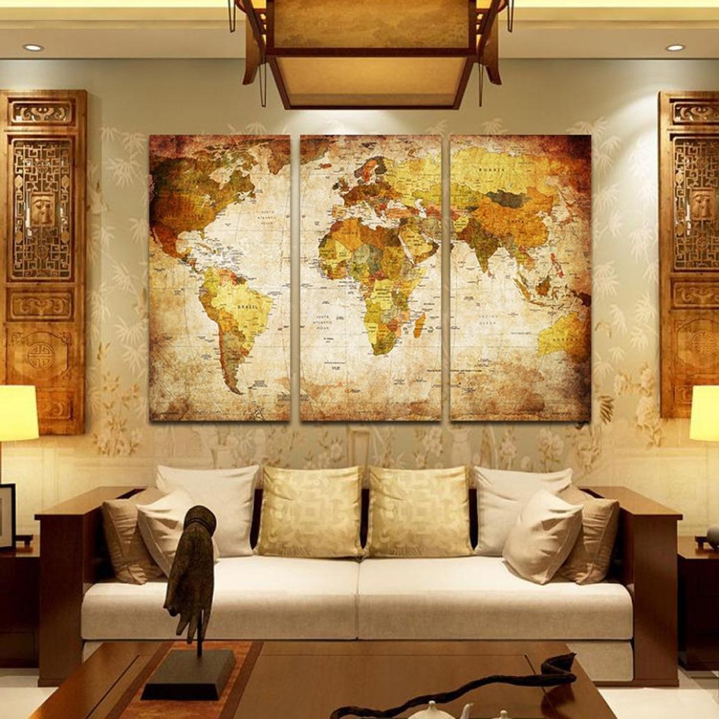 Amazon.com: World Map Modern Gallery Oil Painting Print Unframed ...