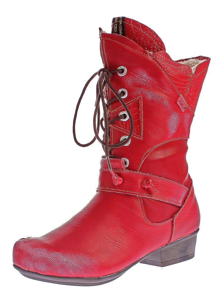 TMA Damen Winter Stiefel 8166 echt Leder Schuhe gefüttert Comfort Stiefel Animal Print Gr. 36-42