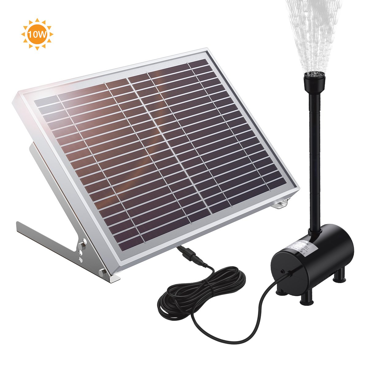 POWERADD Solar Fountain Pump, 10W Solar Powered Bird Bath Fountain Pump with 13 Nozzle Accessories 16.4ft Pump Cord Oxygen Aeration Water Fountain Pump for Garden, Yard, Pool.
