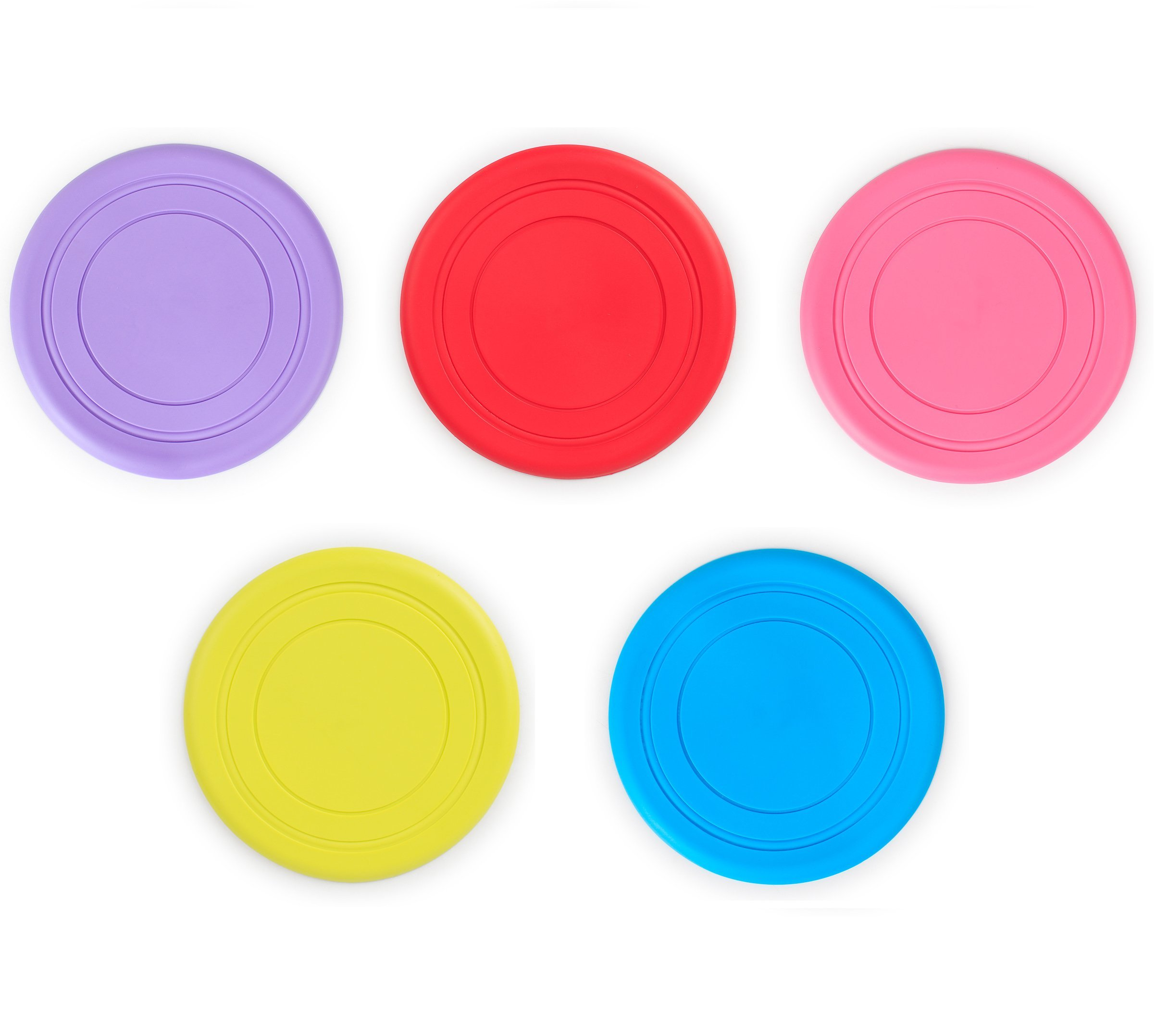 Stock Show 5Pcs 18cm/7 inch Pet Silicone Play Frisbee Flying Disc Bite Resistance Fetch Exercise Training Tools Outdoor Flyer Interactive Toys for Small Medium Dogs/Puppy, Random Color