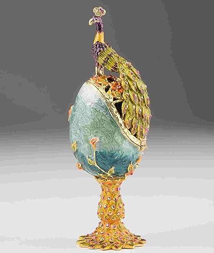 Huevo de fabergé hecho a mano caja de la baratija decorado con cristales de Swarovski