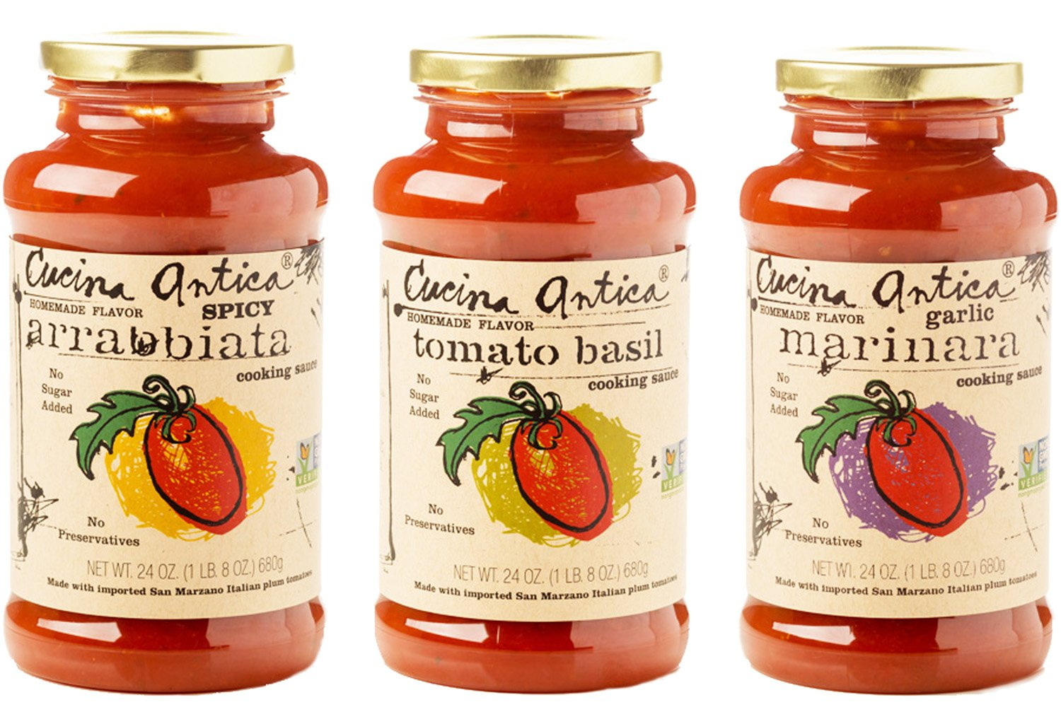 Cucina Antica Pasta Sauce Variety Pack Non Gmo Whole30 Approved 24oz Pack Of 3
