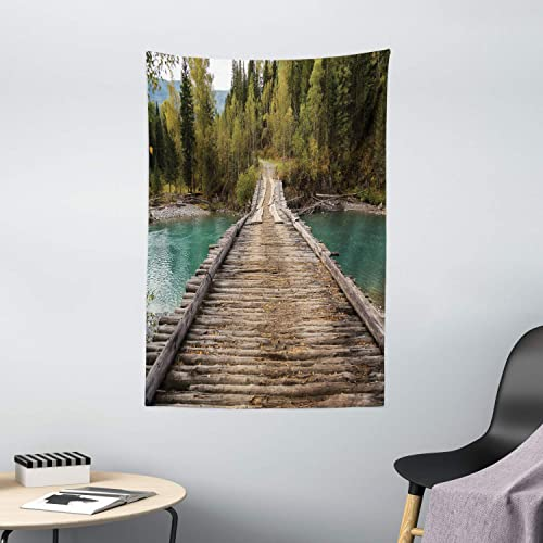 Ambesonne Landscape Tapestry, Old Wood Bridge Over River Belaya Berel and Evergreen Forest Eastern Kazakhstan, Wall Hanging for Bedroom Living Room Dorm Decor, 40 X 60 , Brown Green