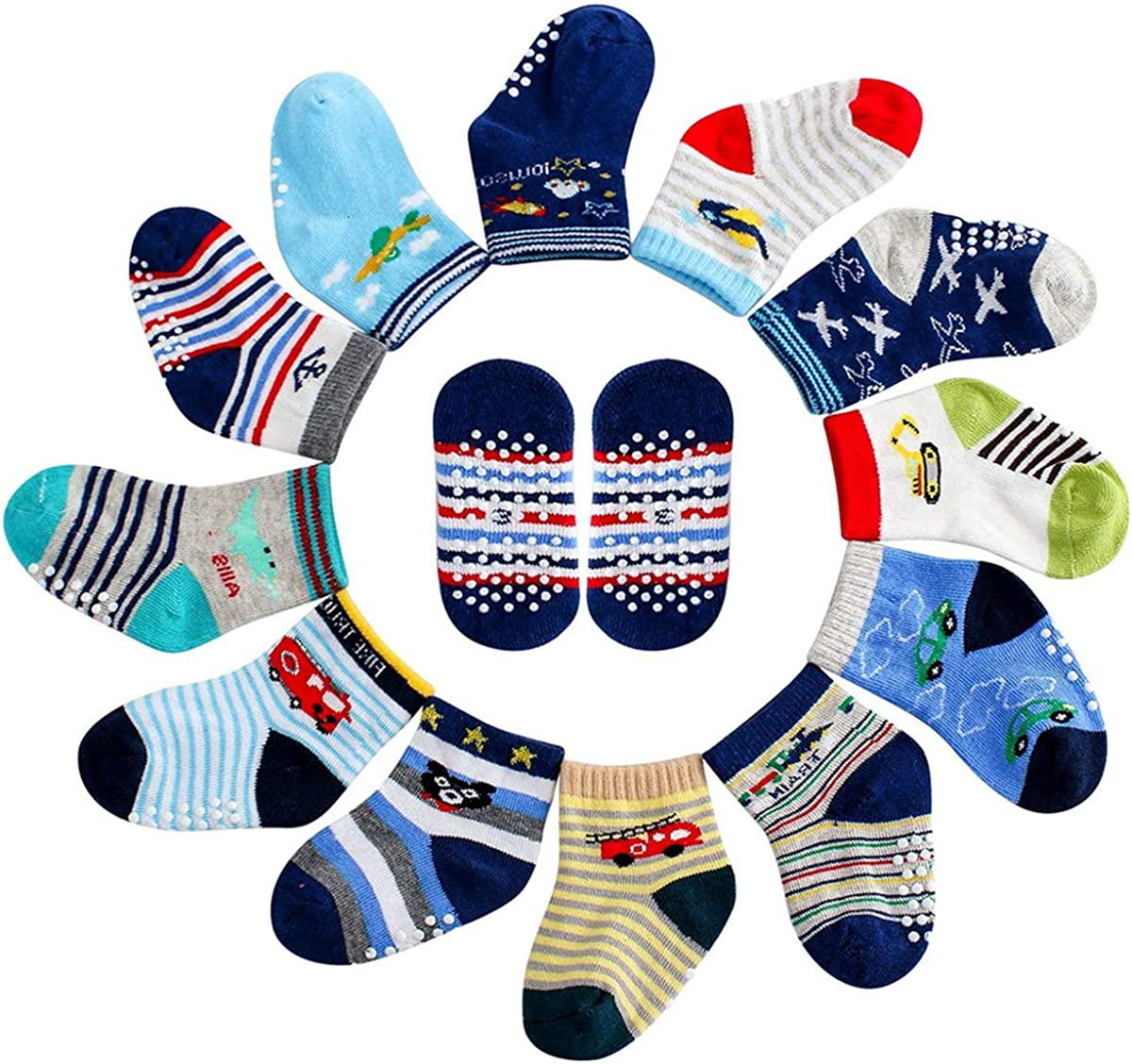 MAYBOX 12 Pairs Assorted Non-Skid Anti Slip Crew Socks With Grips For Baby Toddlers Boys Socks with Grip