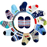 12 Pairs Assorted Kids Boy Baby Socks, Toddler Non-Skid Ankle Crew Cotton Socks Boys Socks with Grip