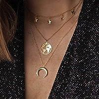 Zoestar Boho Star - Collar con capas de luna dorada, collares con colgante de mapa, joyería de cadena para mujeres y…