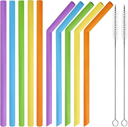 Orange Reusable Silicone Drinking Straws Bendable Bent Straight Thick coffee