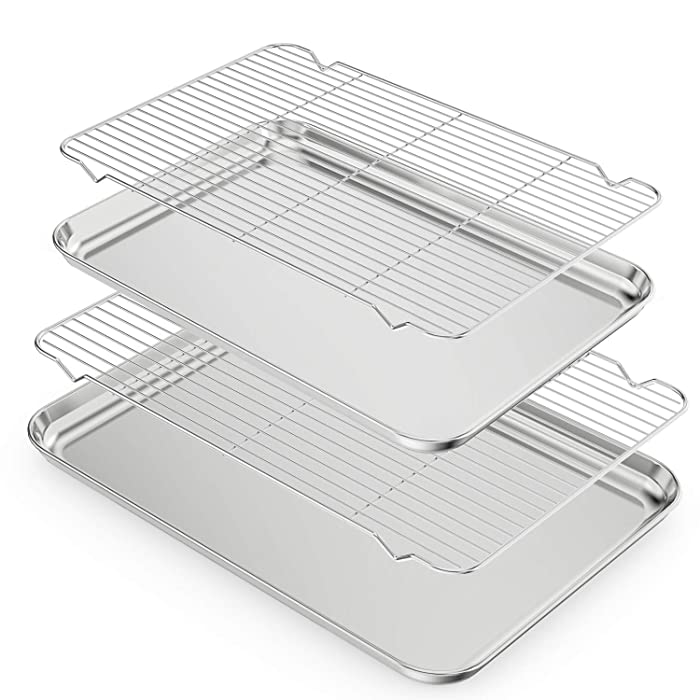 Large Baking Sheets Set, Zacfton Huge Baking Pans & Stainless Steel Cookie Sheets with Racks & Toaster Oven Tray Pans, Rectangle Size 24inch& 20inch & Non Toxic & Healthy,Superior Mirror & Easy Clean